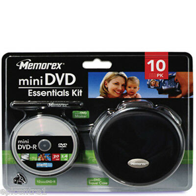 MEMOREX MINI 8cm DVD KIT 10 DVD-R PEN CARRY CASE