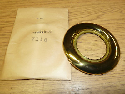 "#7116 VINTAGE DOOR ESCUTCHEON 3-13/16"" ROUND fin: BRASS"