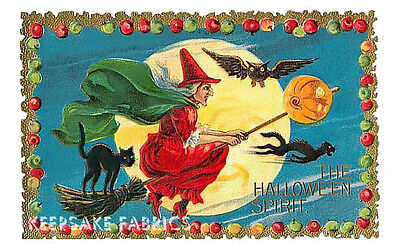 Halloween Witches Dance Moonlight Quilt Block Multi Szs FrEE ShipPinG WoRld WiDE