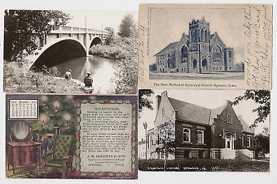 Spencer Iowa 1907 Church, '10 Adv, '15 Library, Bridge