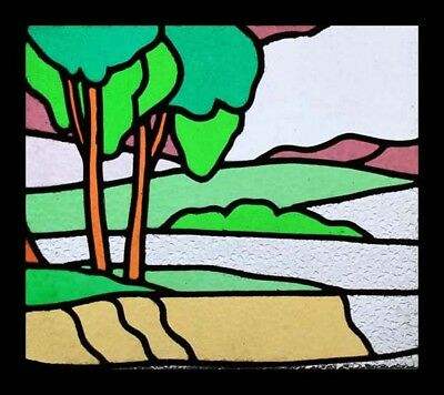Fabulous English Art Deco Trees Stained Glass Window