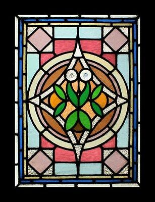 Victorian English Antique Leafy Stained Glass Window