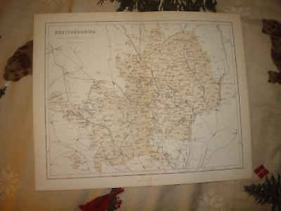 Antique Hertfordshire England Map St Albans Hertford Nr