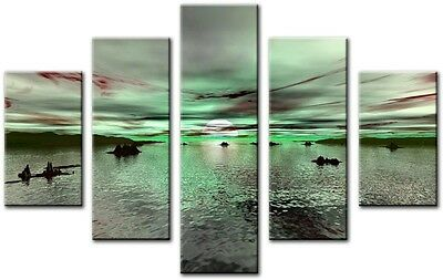 5 Panel Total Size 115x80cm Large Digital Print Canvas Wall Art LIME
