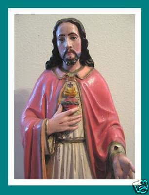 Tall Rare Old Carved Wood Santos Jesus Sacred Heart