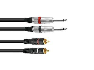 2x Cinch Chinch auf 2 x 6,3 mm Mono Klinke 3,0 m Kabel MC Audio NF