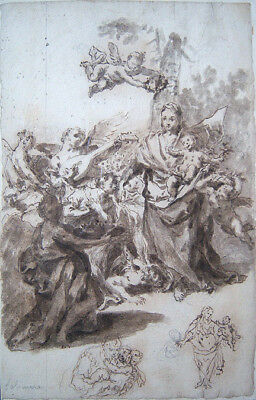 FRANCESCO SOLIMENA Signed c. 1704 Original Ink & Wash