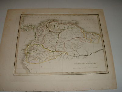 """1835 Bradford Map """"colombia & Guiana"""" Great Old Map"""