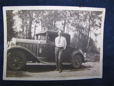 Cool Vintage Photo Man Posing With Old Car 1920s 1930s