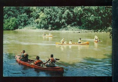 CAMPERS ON A LAKE Canoeing IOWA 4-H Camping Center Vintage 1970 Postcard