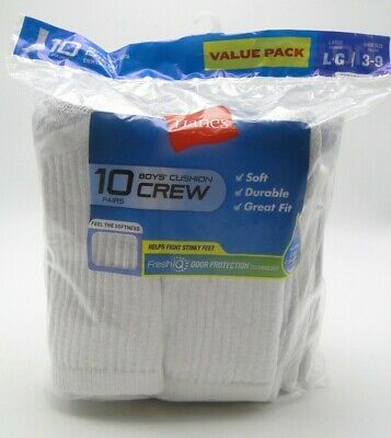 10 pair Boys' Hanes Cushioned Crew Socks Large 3-9