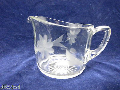 Clear Glass Etched Creamer Bowl With Handle