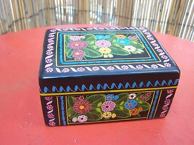 Lg Delicately Painted Wood Jewelry Box Patzcuaro Mexico