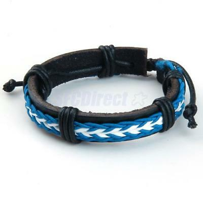 Stylish Leather Braided Bracelet Wristband Blue White