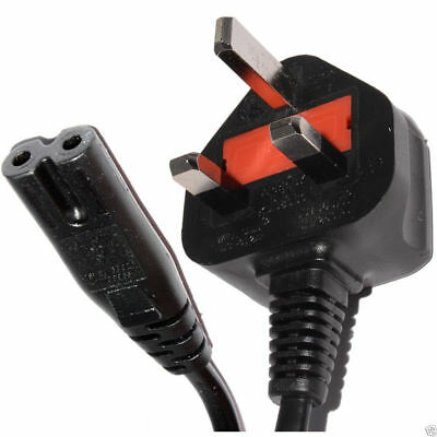 Power Cord UK Plug to Figure 8 Fig of 8 Lead Cable 1m