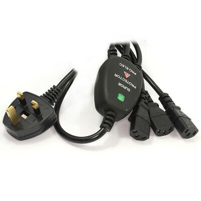Power Cord UK Plug to 3 x IEC Cable Kettle Lead 1.8m