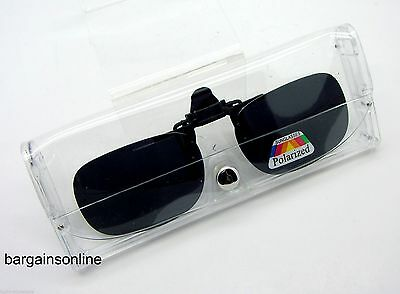 Flip Up Clip On Sunglasses - Polarized - Driving - Fishing - With Case