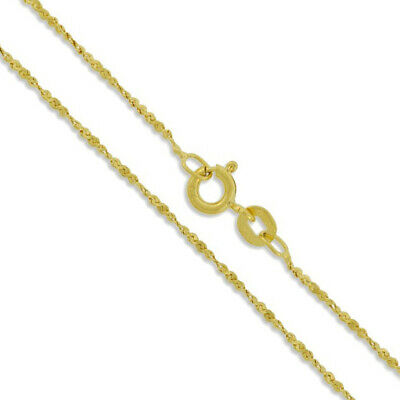 Sterling Silver Gold Plated Serpentine Twist Rope Chain 1.2mm 925 Necklace