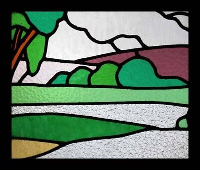Fabulous Art Deco Trees And Fields English Stained Glass Window