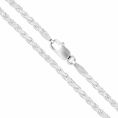 Sterling Silver Necklace Diamond-Cut Rope Chain 2mm 925