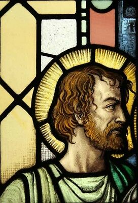 Victorian Antique English Painted Jesus With Shining Halo Stained Glass Window