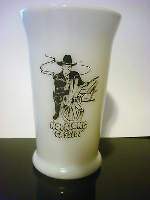 Antique Hopalong Cassidy White Milk Glass Tall Tumbler Vintage Glass Cup Kids