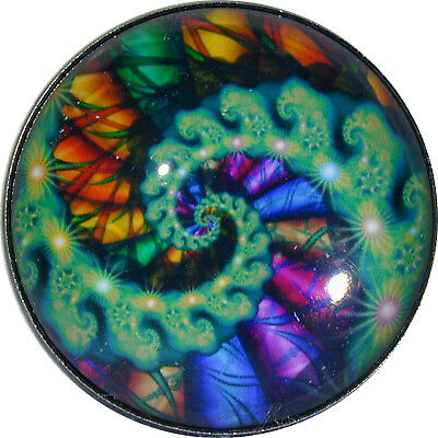 Crystal Dome Button Mystical Spiral #25 Lg Sz 1 & 3/8""