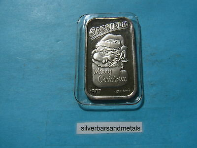 Garfield Cat 1987 Christmas 999 Silver Bar Rare Mint Sealed Cool Item