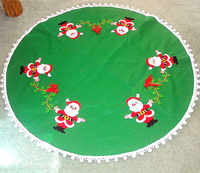 Felt Christmas Tree Skirt With Embroidered Santa Claus