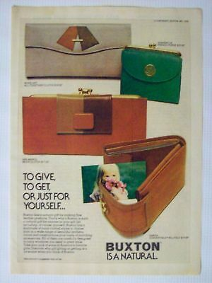 1976 Buxton Leather Ladies Wallet Purse Nice Magazine Advertisement Ad Page