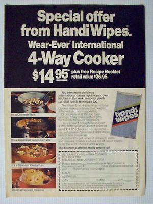 1976 Handi Wipes Wear Ever Pans Magazine Advertisement Ad Page Nice