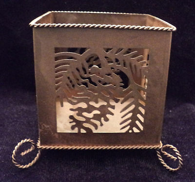METAL CUT OUT SQUARE CANDLE HOLDER ~ RUSTIC LOOKING!!