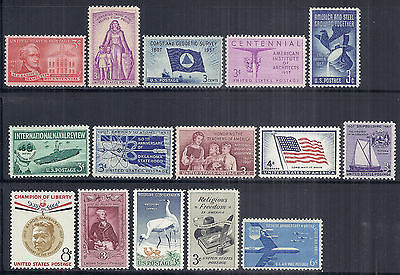 US 1957 Complete Commemorative Year Set of 15, 1086-1099 w/ C49 - MNH*