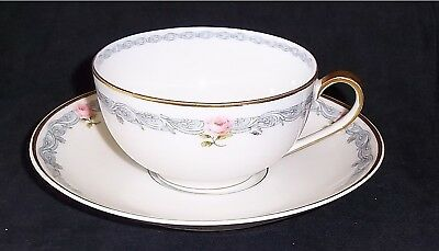 Set of 4 - THEODORE HAVILAND LIMOGES Cups & Saucers Blue w/Pink Floral