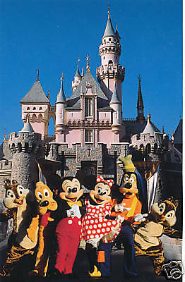 Disney Postcard Mickey and Pals at Castle