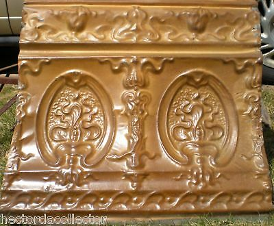 "Antique Gold Victorian Ceiling Tin Tile Cameo Torch  24"" Shabby Chic"