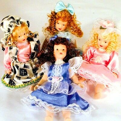 12 PORCELAIN DOLLS 6 INCH BENDABLE toy doll girls toys ceramic novelty small new