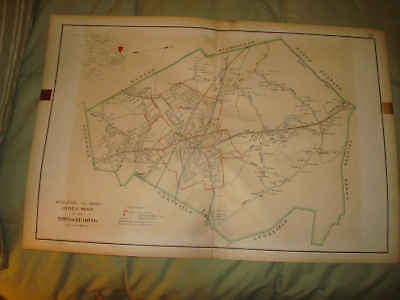Huge Antique Reading Middlesex County Massachusetts Map