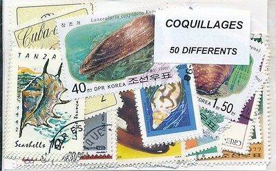 ZAU - COQUILLAGES : 50 TIMBRES DIFF. OBLI. Ts PAYS