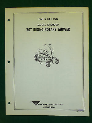 """Amf Western Tool 26"""" Riding Rotary Mower Parts Manual"""