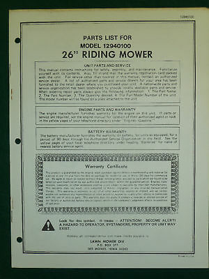 """Amf Western Tool 26"""" Riding Mower Parts Manual 12940100"""