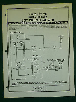 """Amf Western Tool 30"""" Riding Mower Parts Manual 12921000"""