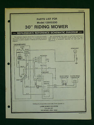 """Amf Western Tool 30"""" Riding Mower Parts Manual 12910200"""