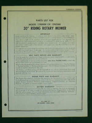 """Amf Western Tool 30"""" Riding Rotary Mower Parts Manual"""