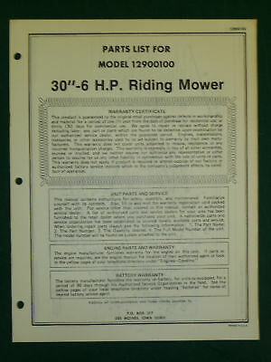 "AMF WESTERN TOOL 30"" 6 H.P. RIDING MOWER PARTS MANUAL"