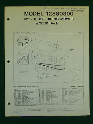 "AMF WESTERN TOOL 42"" 10 H.P. RIDING MOWER PARTS MANUAL"