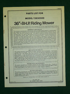 "AMF WESTERN TOOL 36"" 8 H.P. RIDING MOWER PARTS MANUAL"