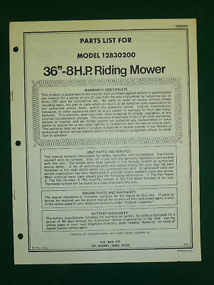 """Amf Western Tool 36"""" 8 H.p. Riding Mower Parts Manual"""