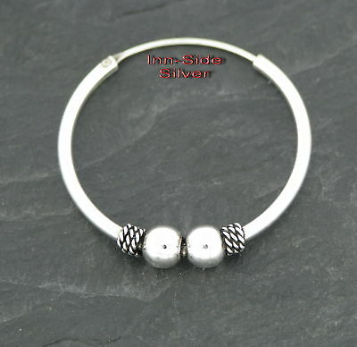 Ohrring Keltische CREOLE double ball 30mm Gothic Celtic Silber 925