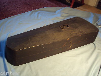 ANTIQUE WOODEN COFFIN BOX Case for a VIOLIN or FIDDLE